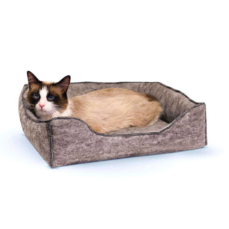 Azreal Cozy Grey Felt Cat Bed