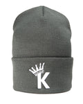 """K"" Krown Beanie - Grey/White"