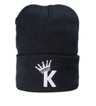 """K"" Krown Beanie - Black/White"