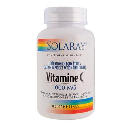 Vitamine C 1000 mg Solaray action prolongée - 100 comprimés