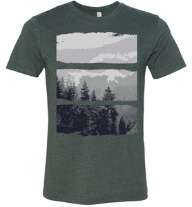 Artistic Mountain Forest Scene Adult Tee