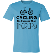 Load image into Gallery viewer, Cycling it's Cheaper Than Therapy Adult Tee