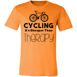 Cycling it's Cheaper Than Therapy Adult Tee