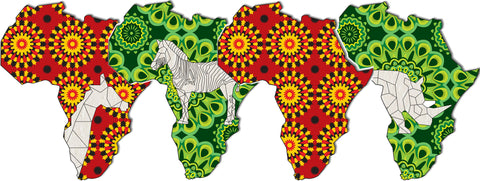 Inspire - Set of 4 Africa shaped tags
