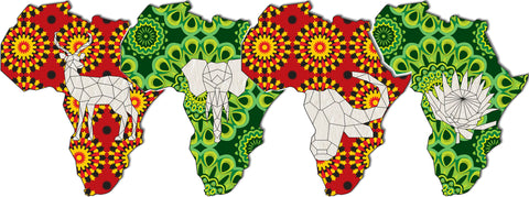 Pride - Set of 4 Africa shaped tags