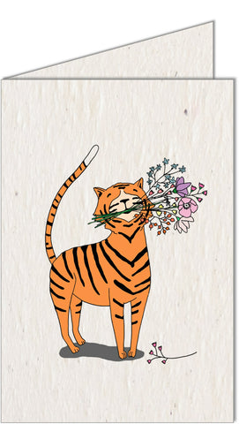 Greeting Card | Tiger with Flowers