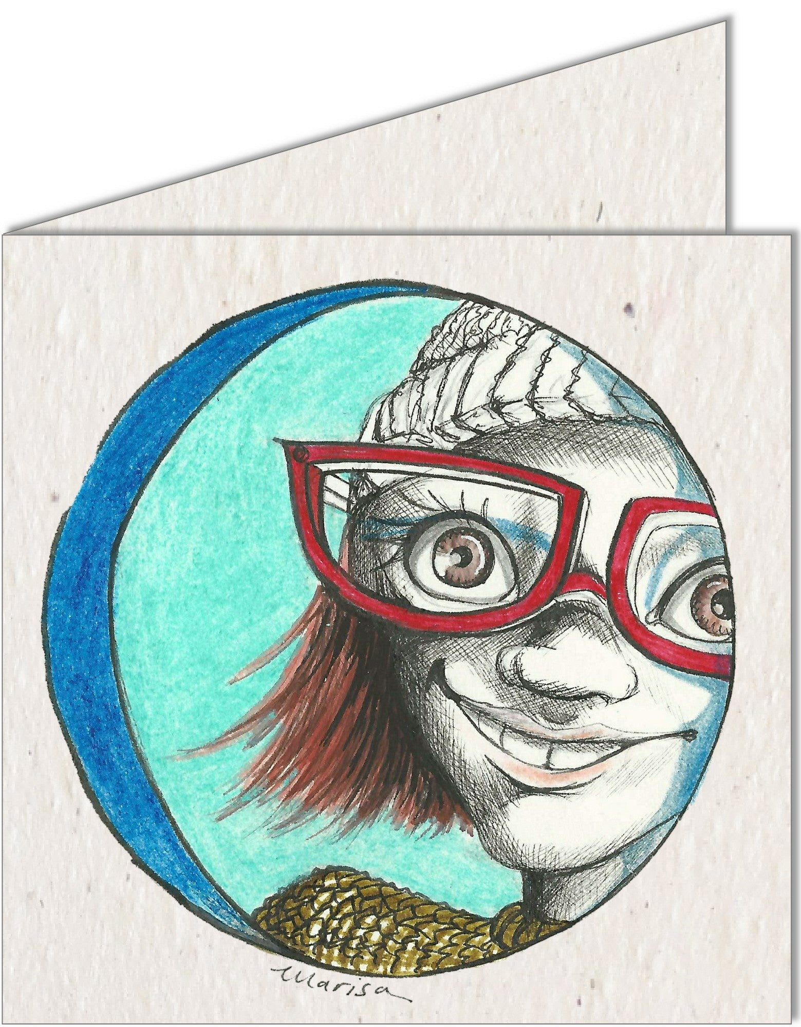 Greeting Card | Girl with Red Spectacles