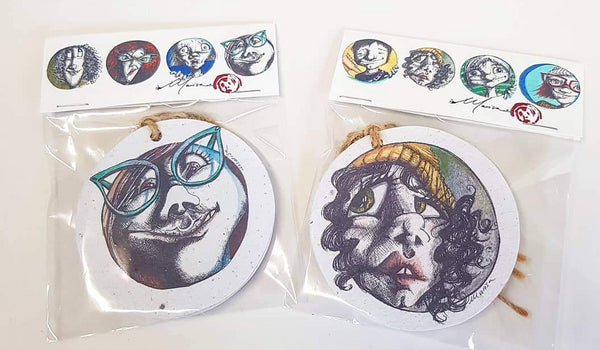 Set of 4 tags | Faces