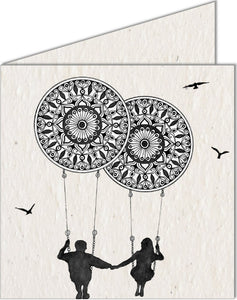 Greeting Card | Couple on Mandala Swing
