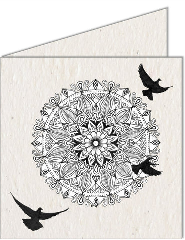 Greeting Card | Mandala & Birds in flight