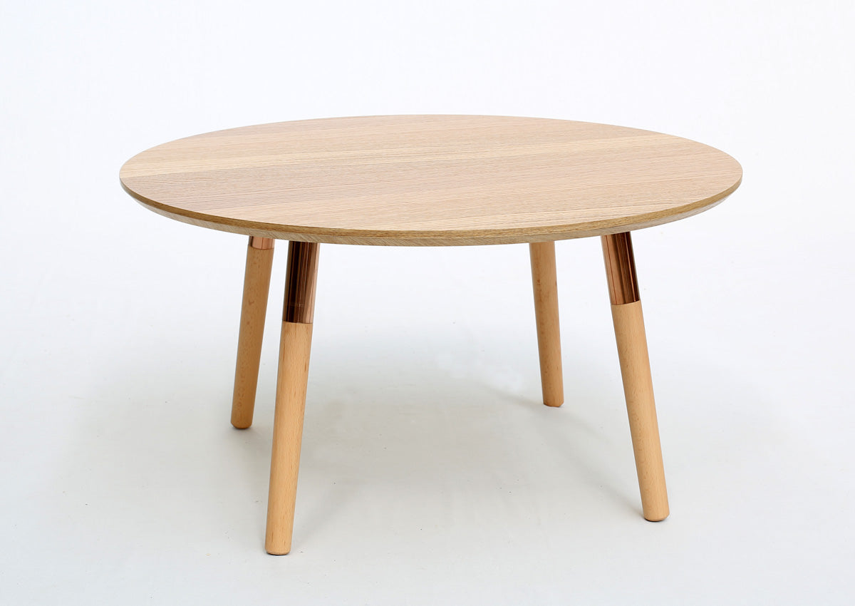 Oskar Coffee Table (Natural Ash Top with Rose Gold Legs)