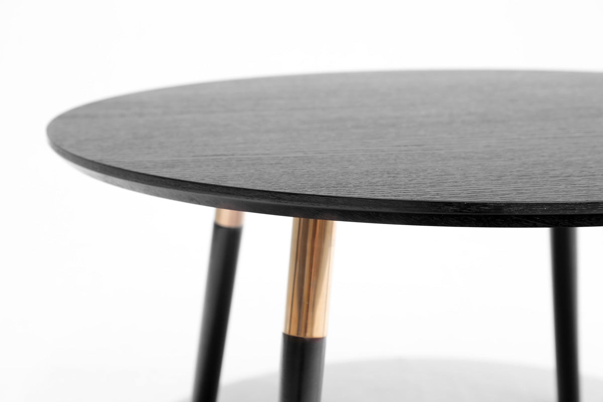 Oskar Coffee Table (Black Top with Rose Gold Legs)