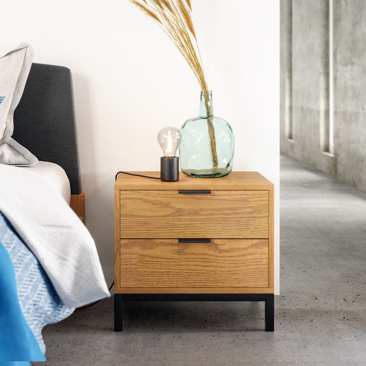 Wooden Bedside Table (Harold Collection)