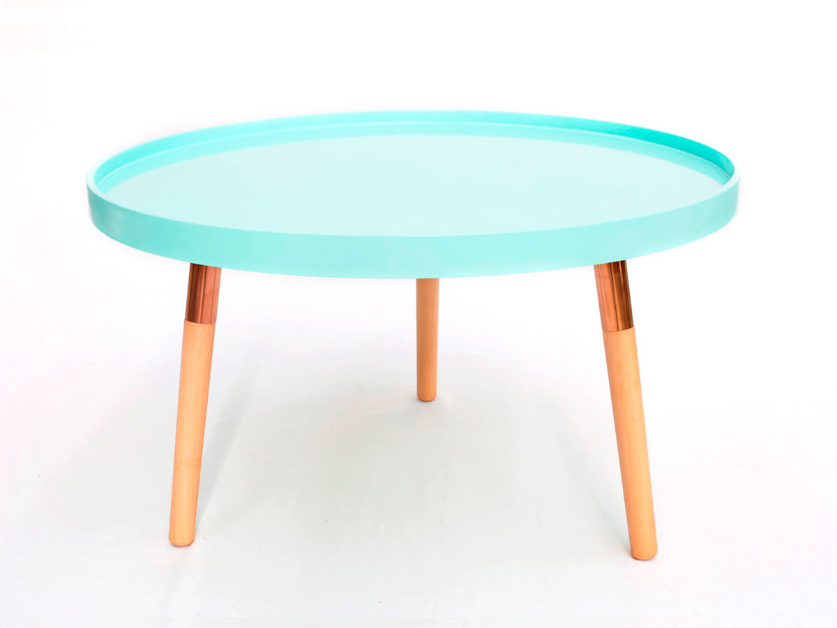 Tiffany Tray Coffee Table (Peppermint with Rose Gold Legs)