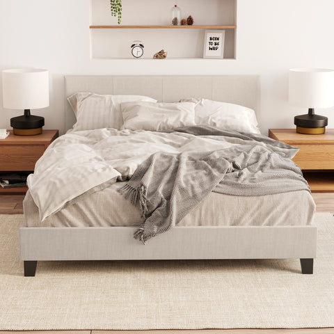 Hans Fabric Bed Frame (Natural Beige)