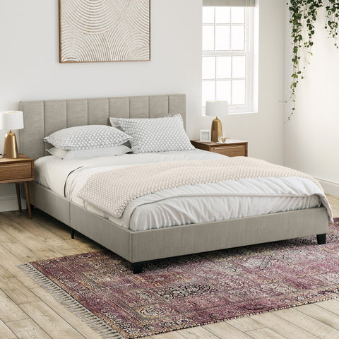 Ormond Fabric Bed Frame (Natural Beige)