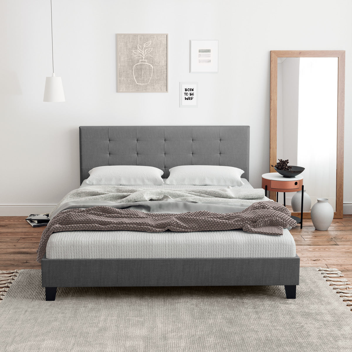 Audrey Fabric Bed Frame (Charcoal)
