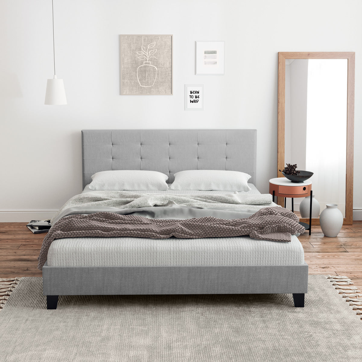 Audrey Fabric Bed Frame (Grey)