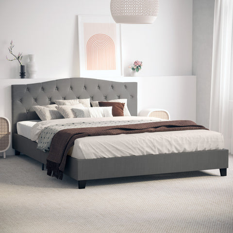 Sonata Fabric Curved Bed Frame (Charcoal)