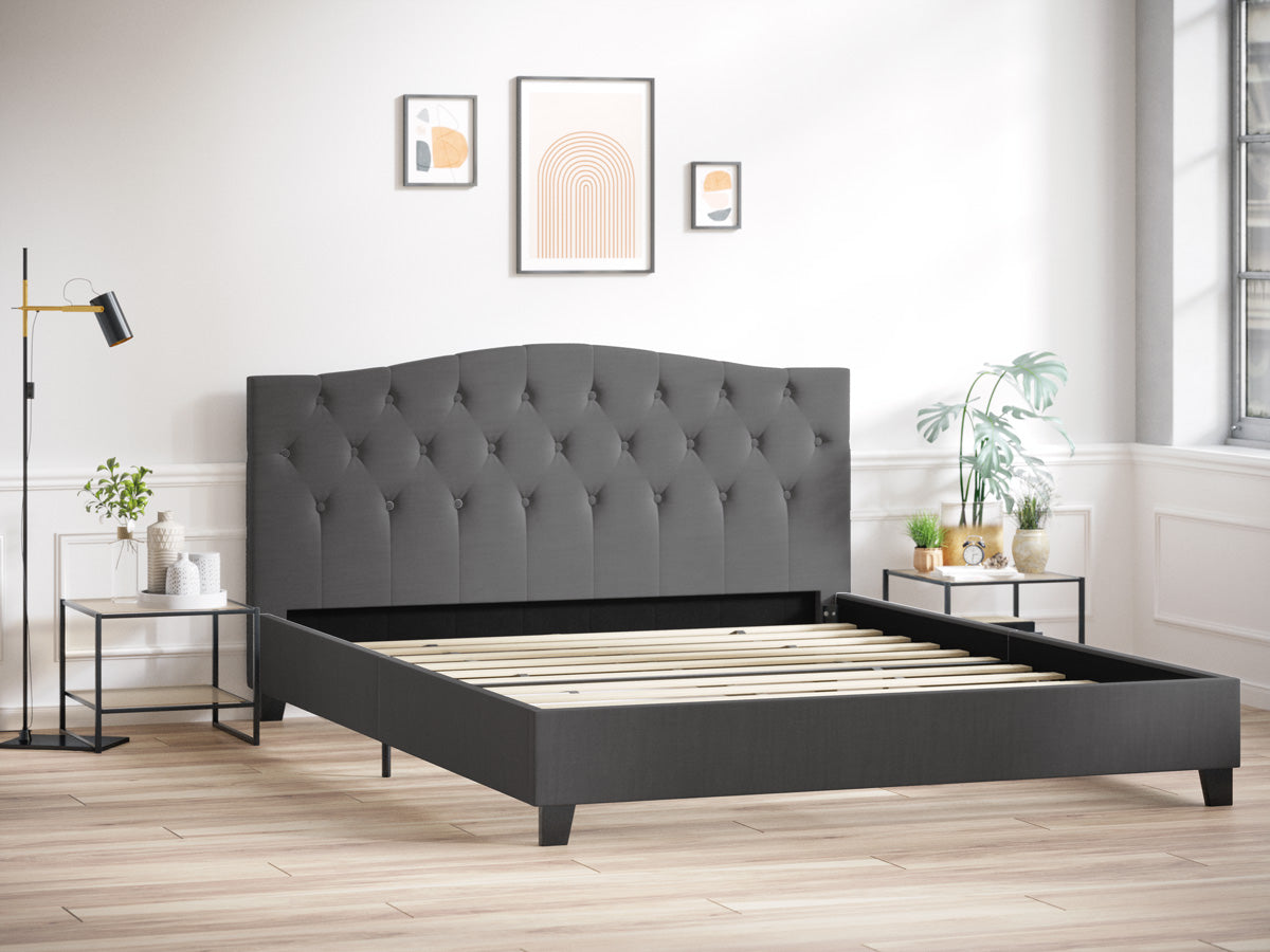 Sonata Fabric Curved Bed Frame (Charcoal Black)