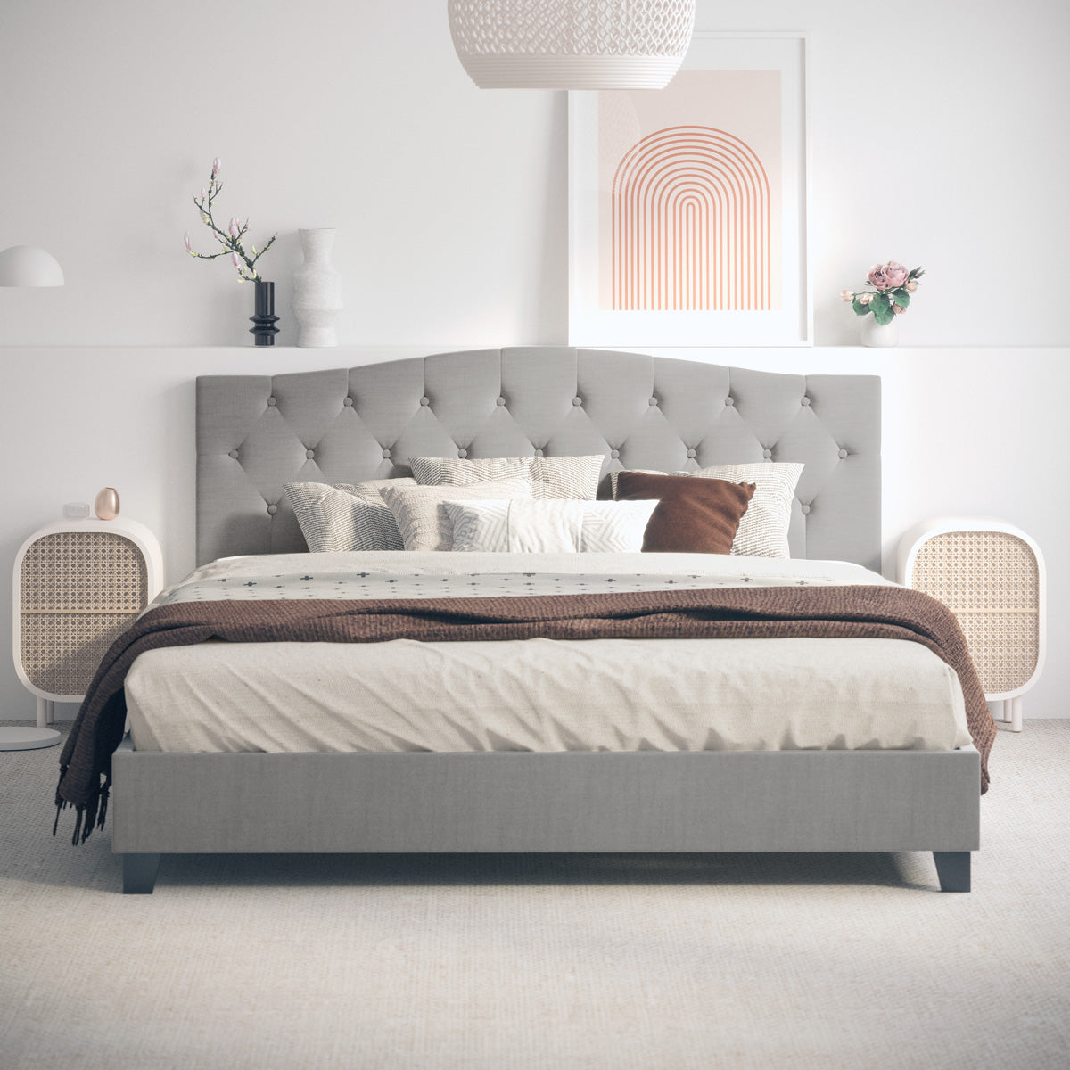 Sonata Fabric Curved Bed Frame (Grey)