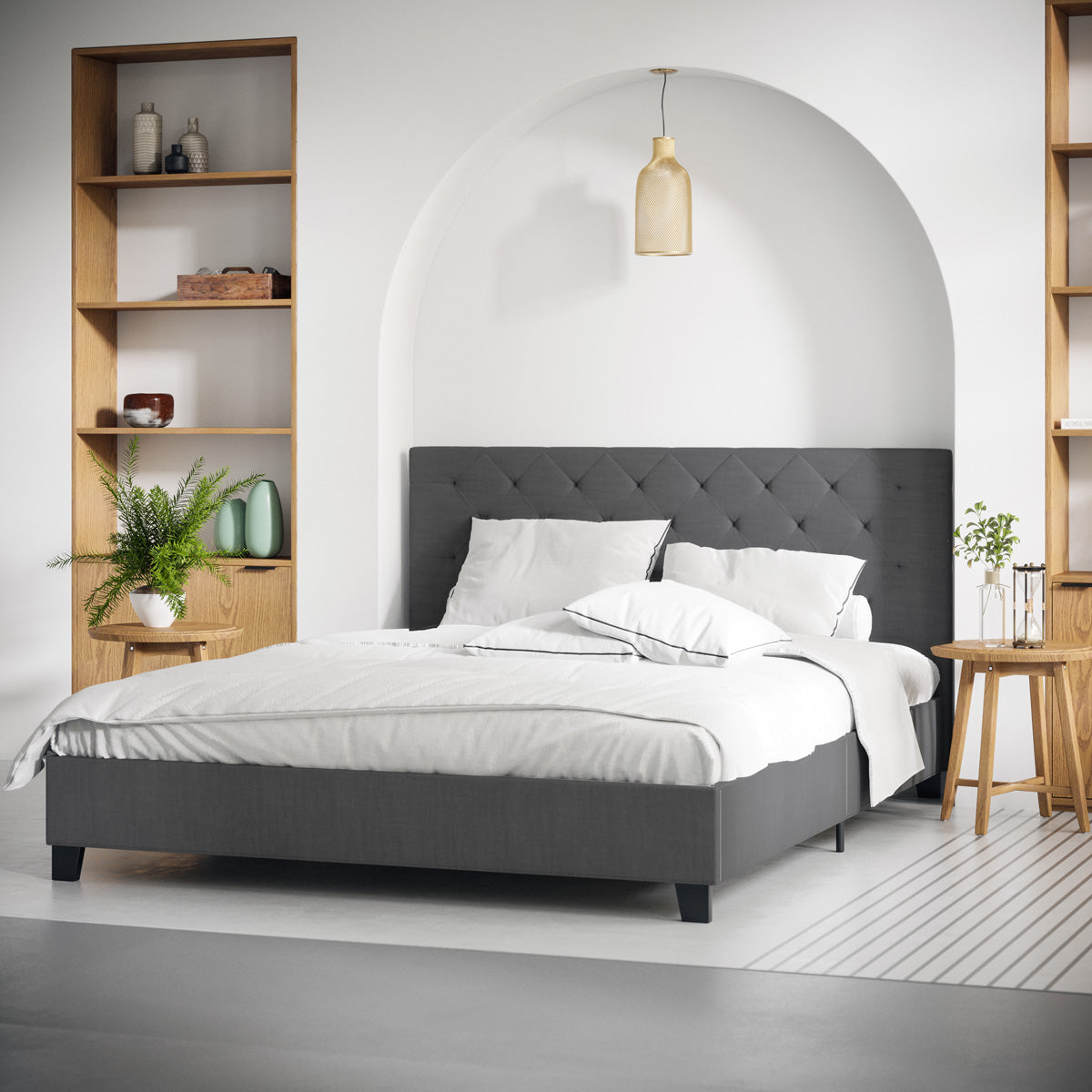 Casper Fabric Bed Frame Charcoal Tommy Swiss