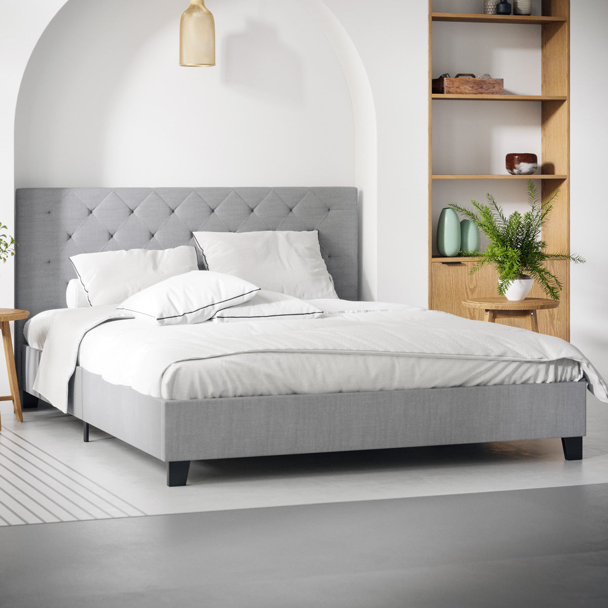 Casper Fabric Bed Frame Grey Tommy Swiss