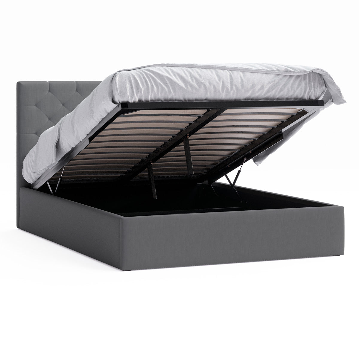 Webster Gas Lift Storage Bed Frame (Charcoal Fabric)