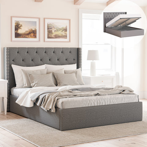 Leonora Gas Lift Storage Wing Bed Frame with Studs (Charcoal Fabric)