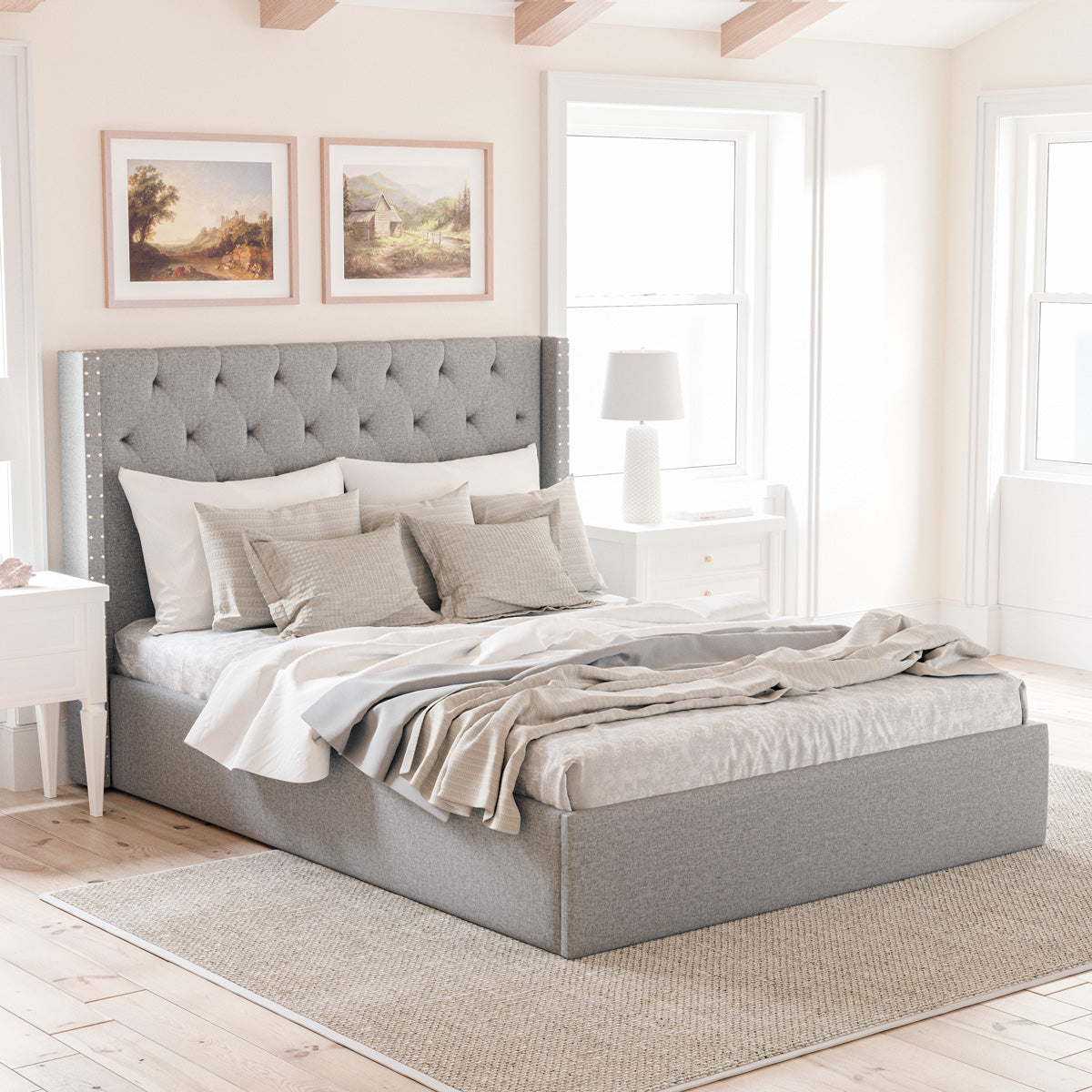 Leonora Gas Lift Storage Wing Bed Frame with Studs (Grey Fabric)