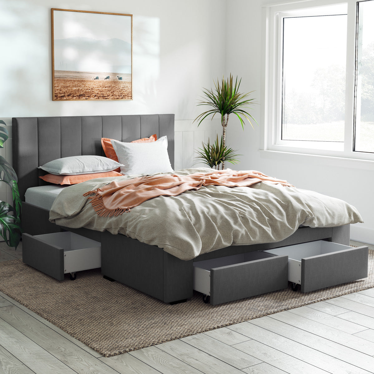 Ormond Bed Frame with Four Storage Drawers (Charcoal Fabric)