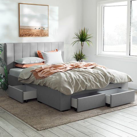 Ormond Bed Frame with Four Storage Drawers (Grey Fabric)