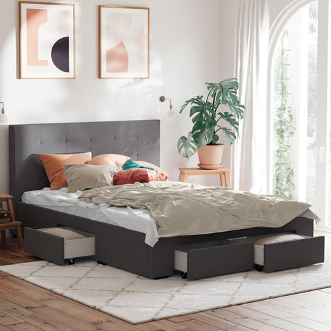 Audrey Bed Frame with Four Storage Drawers (Charcoal Fabric)