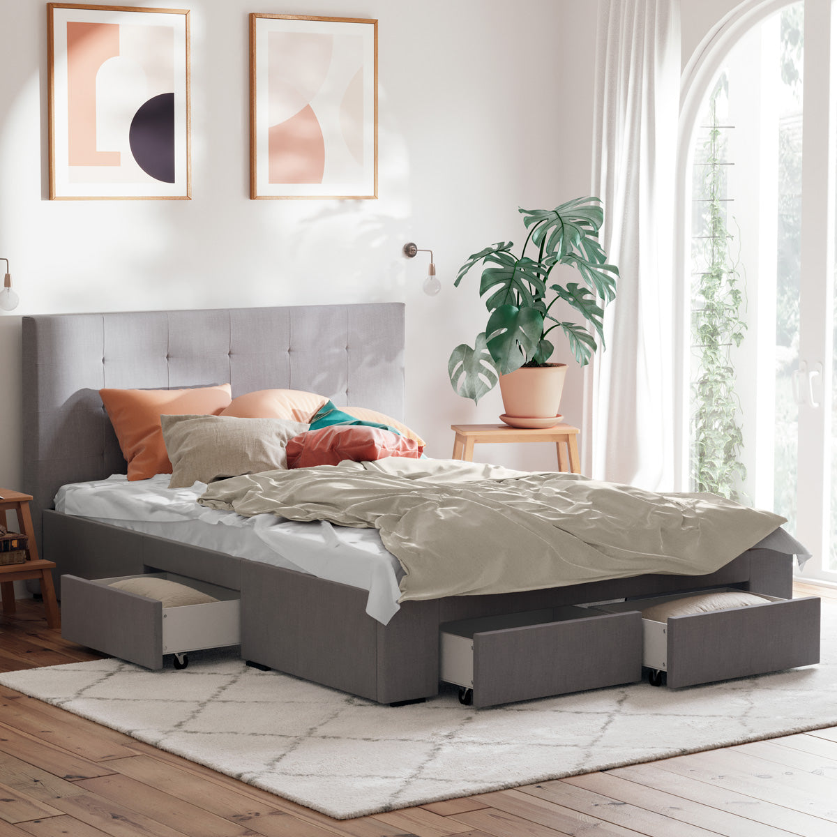 Audrey Bed Frame with Four Storage Drawers (Grey Fabric)