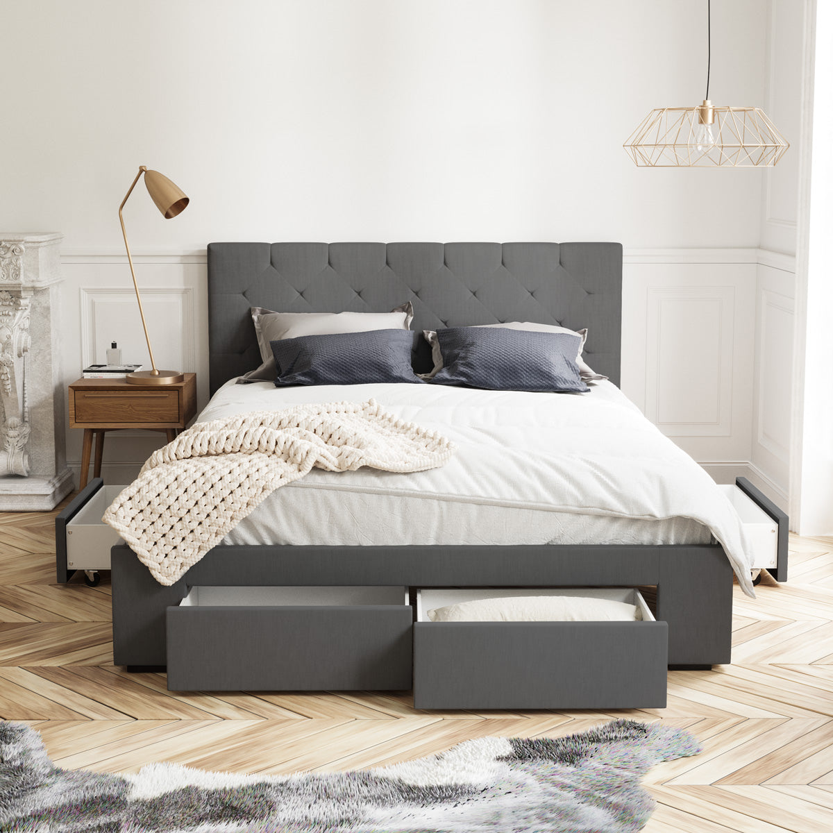 Webster Bed Frame with Four Storage Drawers (Charcoal Fabric)