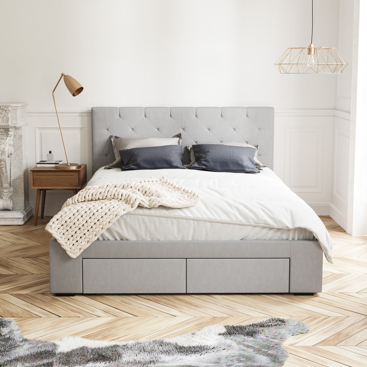 Webster Bed Frame with Four Storage Drawers (Grey Fabric)