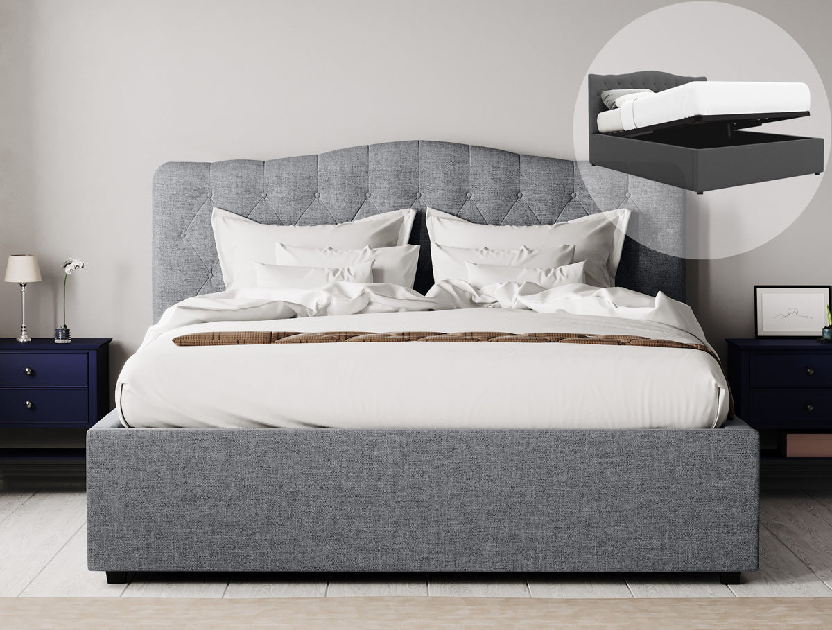 Adele Gas Lift Storage Bed Frame (Grey Fabric)