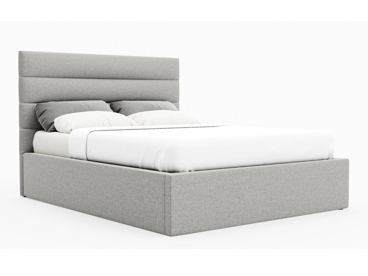 Benny Gas Lift Storage Bed Frame (Stone Beige Fabric)