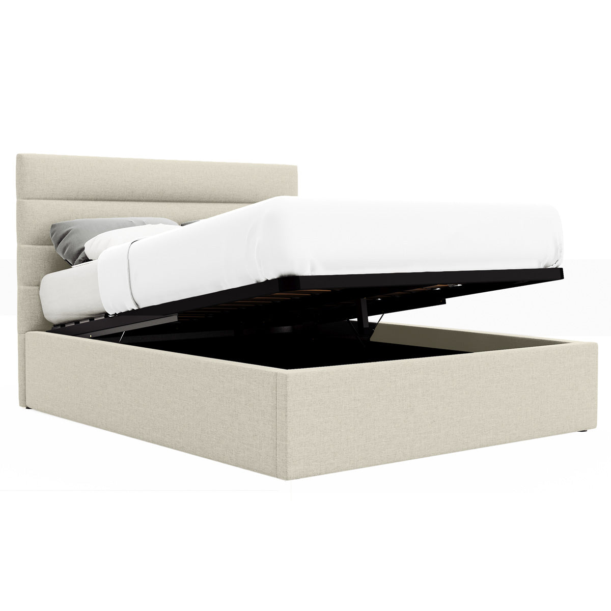 Benny Gas Lift Storage Bed Frame (Tuscan Beige Fabric)