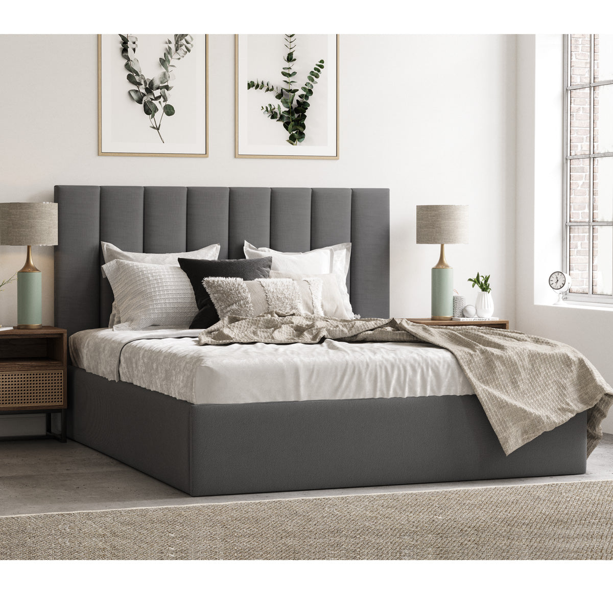 Celine Gas Lift Storage Bed Frame (Charcoal Fabric)
