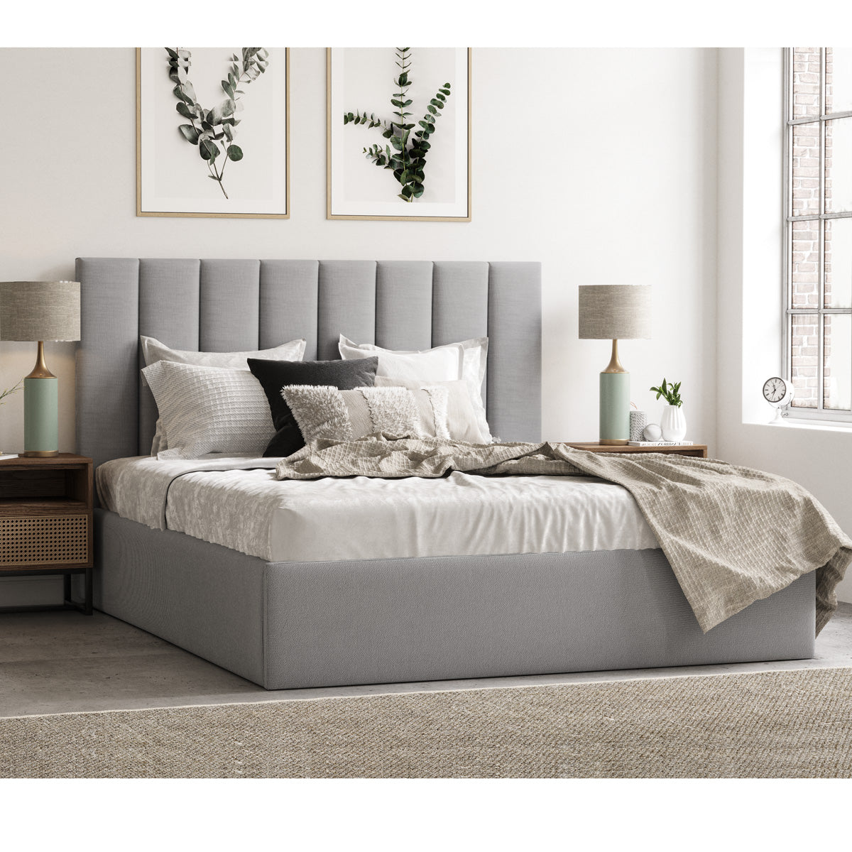 Celine Gas Lift Storage Bed Frame (Grey Fabric)
