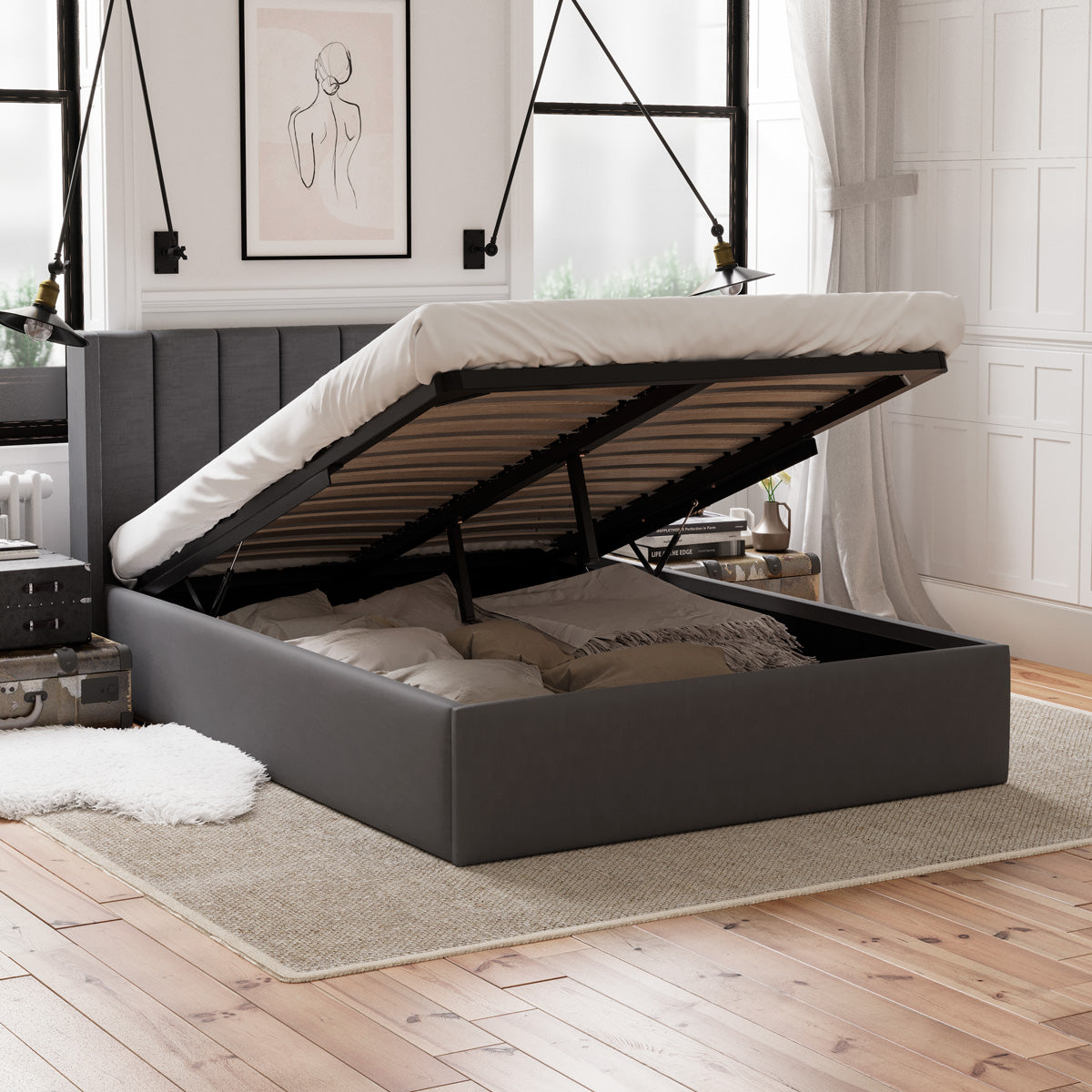 Emilie Gas Lift Storage Wing Bed Frame (Charcoal Fabric)