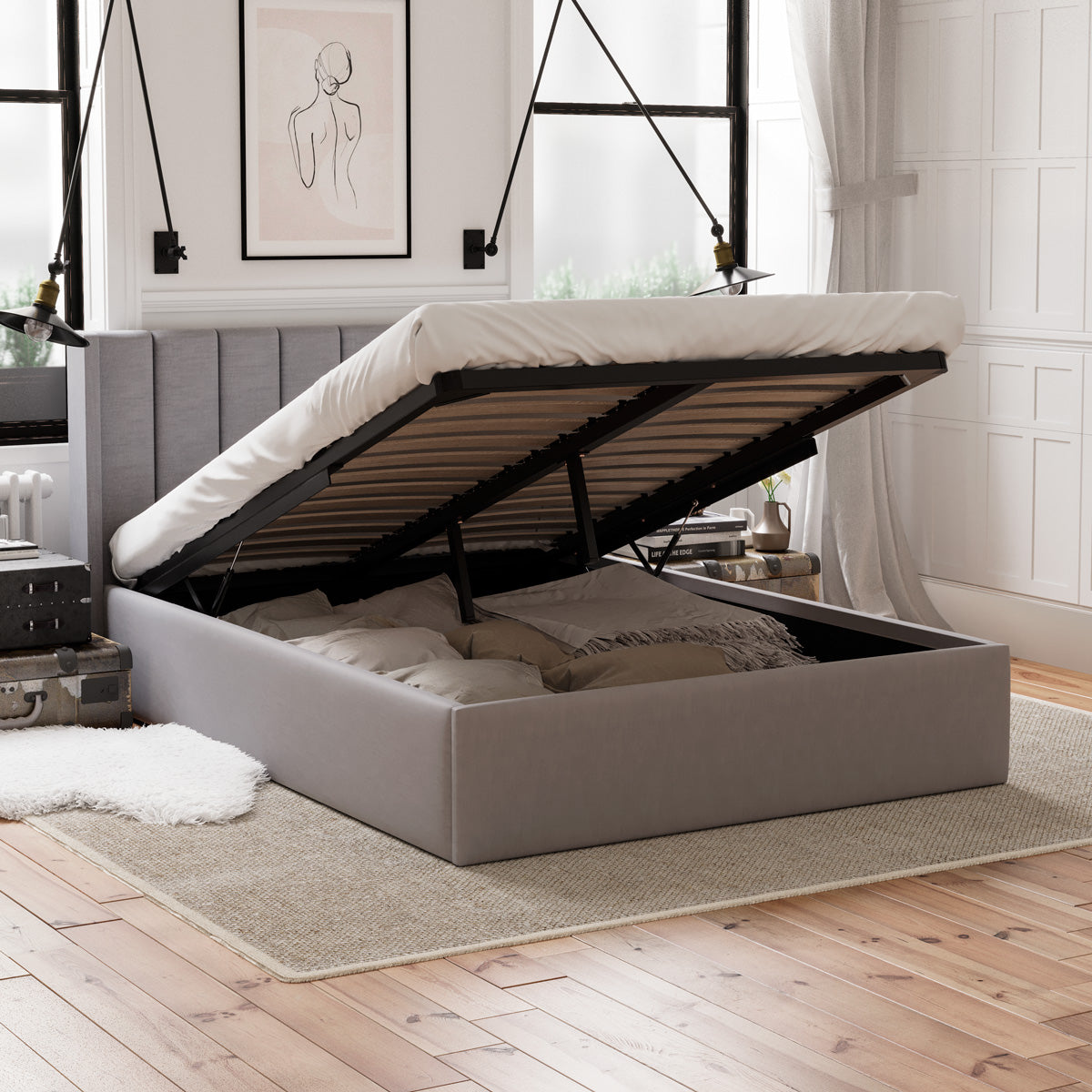 Emilie Gas Lift Storage Wing Bed Frame (Grey Fabric)