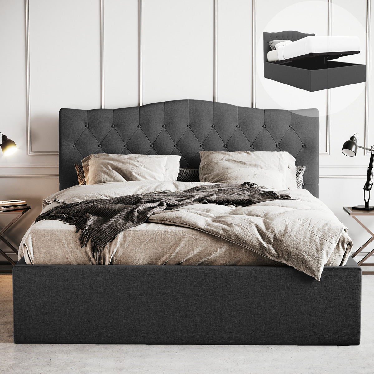 Gabrielle Gas Lift Storage Bed Frame (Charcoal Fabric)