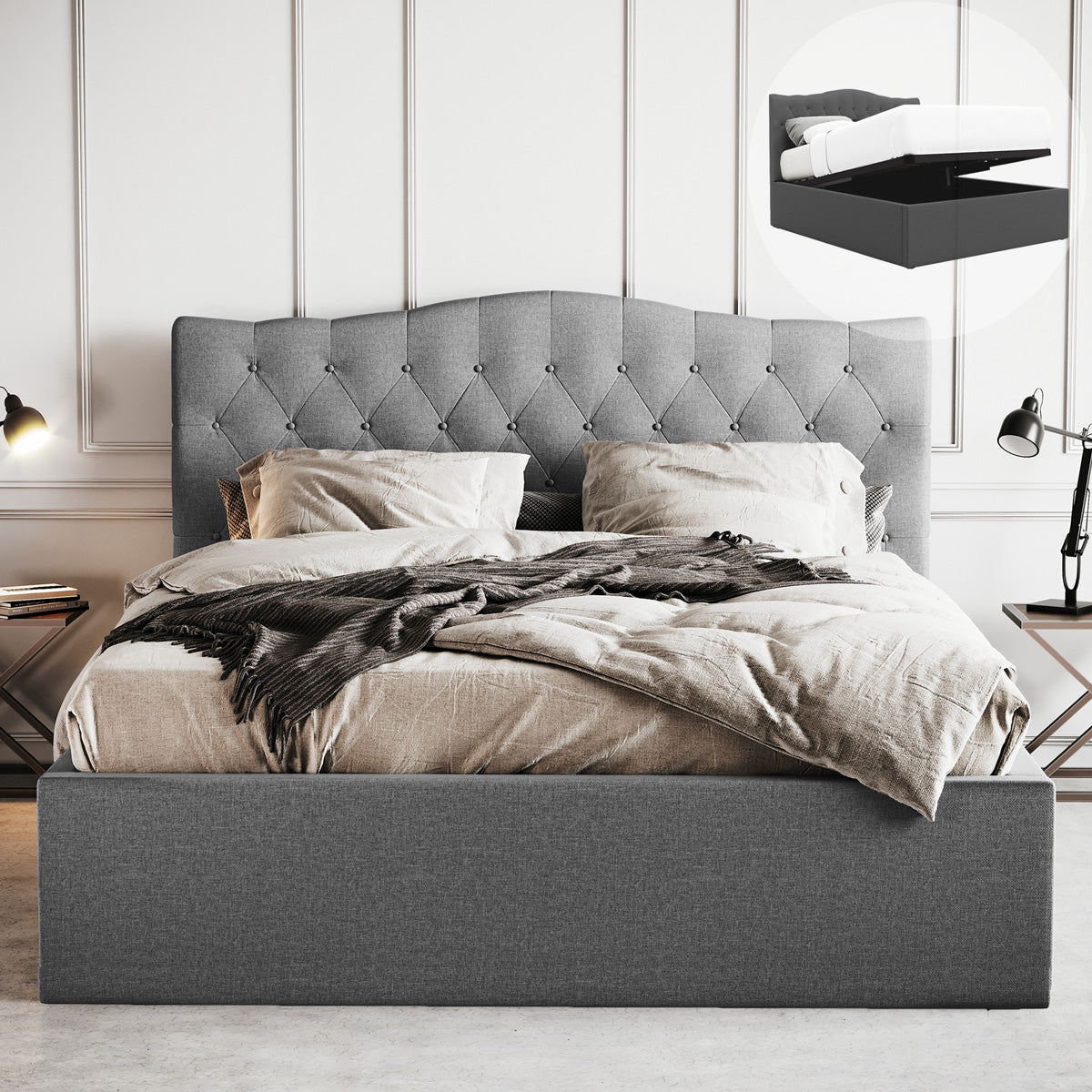 Gabrielle Gas Lift Storage Bed Frame (Grey Fabric)