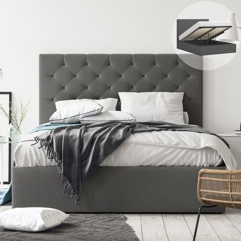 Fenwick Gas Lift Storage Bed Frame (Charcoal Fabric)