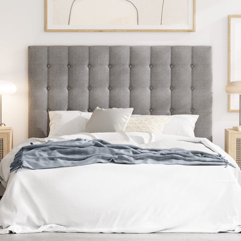 Maddison Upholstered Fabric Bed Head (Grey)