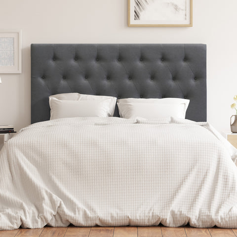 Florence Upholstered Fabric Bed Head (Charcoal)