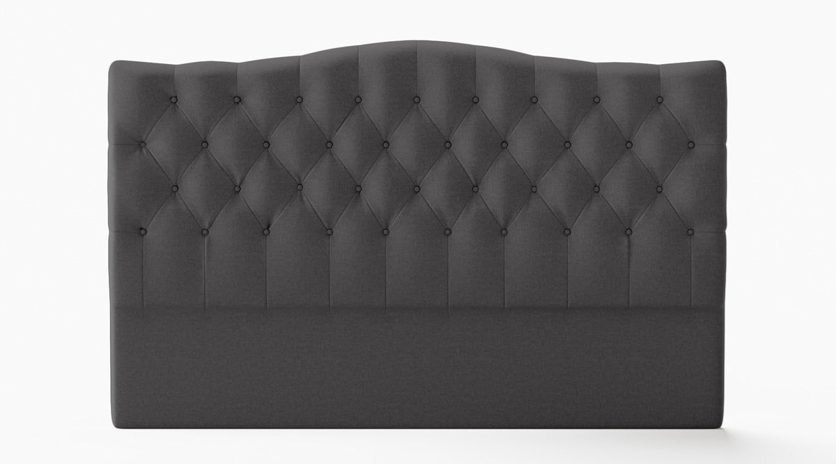 Adele Upholstered Fabric Curved Bed Head (Charcoal)