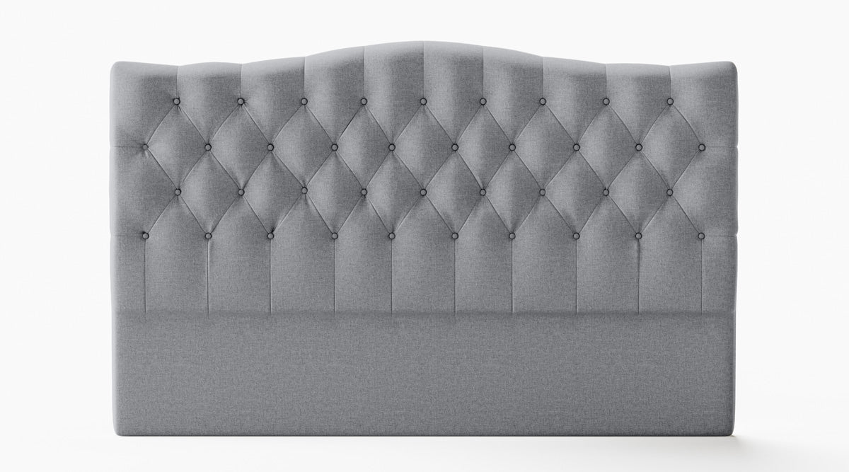 Adele Upholstered Fabric Curved Bed Head (Grey)